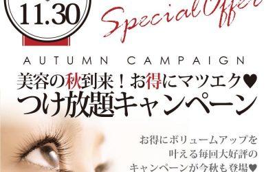【Blanc富山CIC店】秋の付け放題キャンペーン♪最終月!!!(予約空き状況11/10~11/14) マツエク