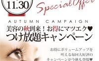 ☆期間限定☆秋の付け放題キャンペーンでお得にまつ毛のボリュームアップ!10月も実施中\(^o^)/160本まで付けられます♪